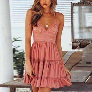 Boho Crochet Tiered V Neck Pink Dress